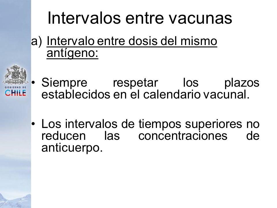 Intervalos entre vacunas a)Intervalo entre dosis del mismo antígeno: Siempre respetar los plazos establecidos en el calendario vacunal. Los intervalos