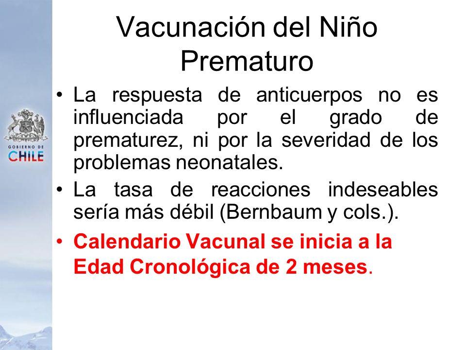 Vacunación del Niño Prematuro La respuesta de anticuerpos no es influenciada por el grado de prematurez, ni por la severidad de los problemas neonatal