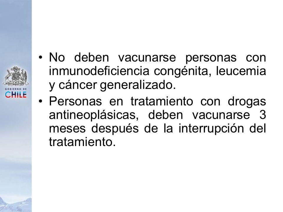 No deben vacunarse personas con inmunodeficiencia congénita, leucemia y cáncer generalizado. Personas en tratamiento con drogas antineoplásicas, deben