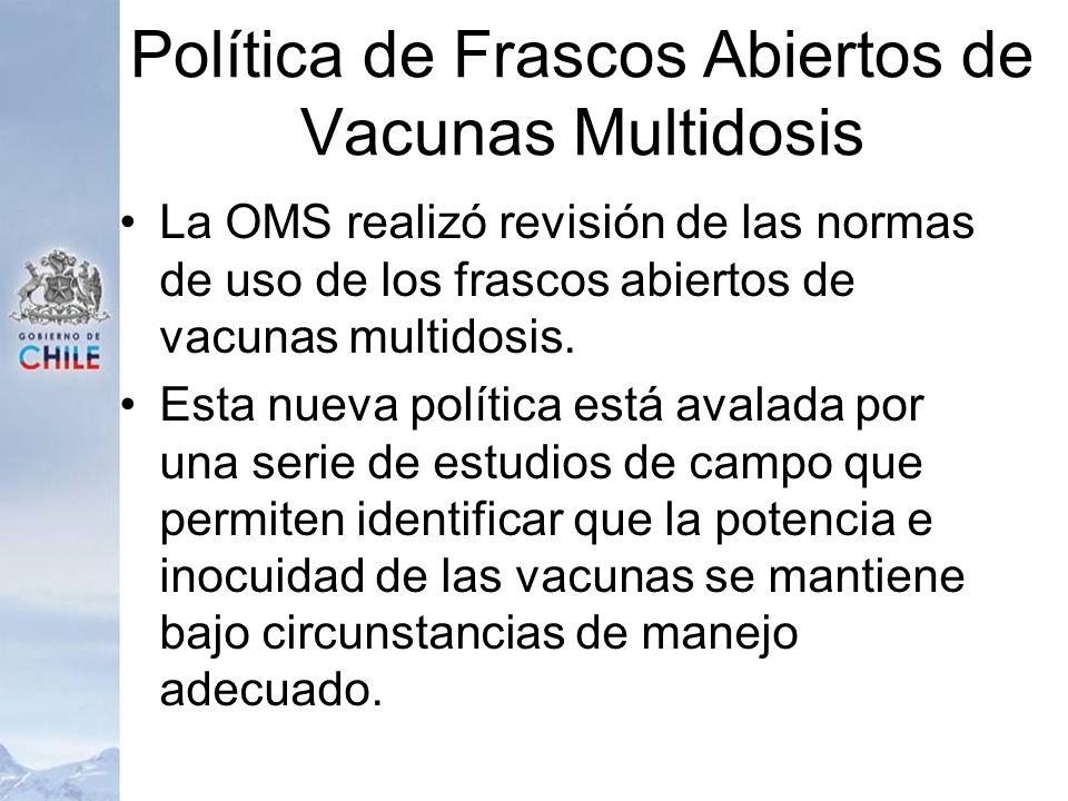 Política de Frascos Abiertos de Vacunas Multidosis La OMS realizó revisión de las normas de uso de los frascos abiertos de vacunas multidosis. Esta nu
