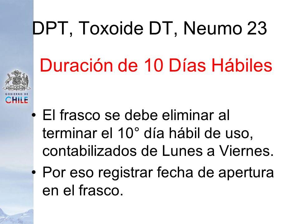 DPT, Toxoide DT, Neumo 23 Duración de 10 Días Hábiles El frasco se debe eliminar al terminar el 10° día hábil de uso, contabilizados de Lunes a Vierne