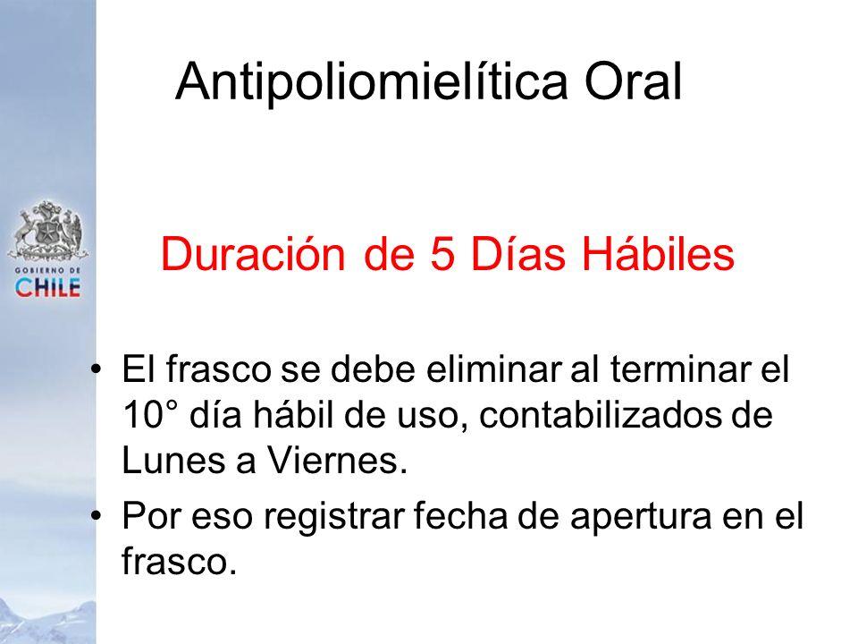 Antipoliomielítica Oral Duración de 5 Días Hábiles El frasco se debe eliminar al terminar el 10° día hábil de uso, contabilizados de Lunes a Viernes.