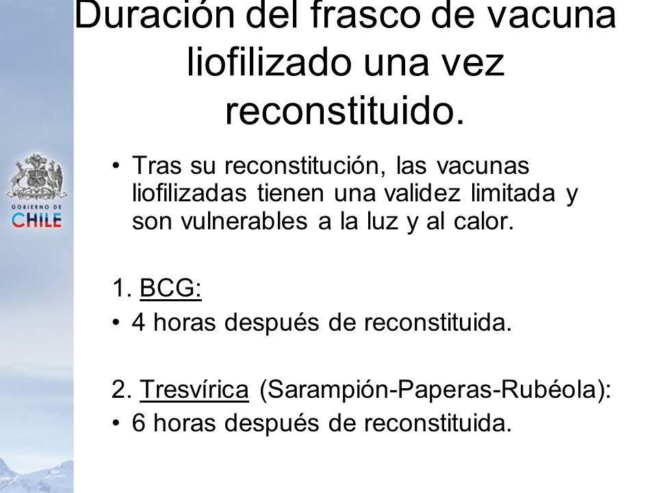 Duración del frasco de vacuna liofilizado una vez reconstituido. Tras su reconstitución, las vacunas liofilizadas tienen una validez limitada y son vu