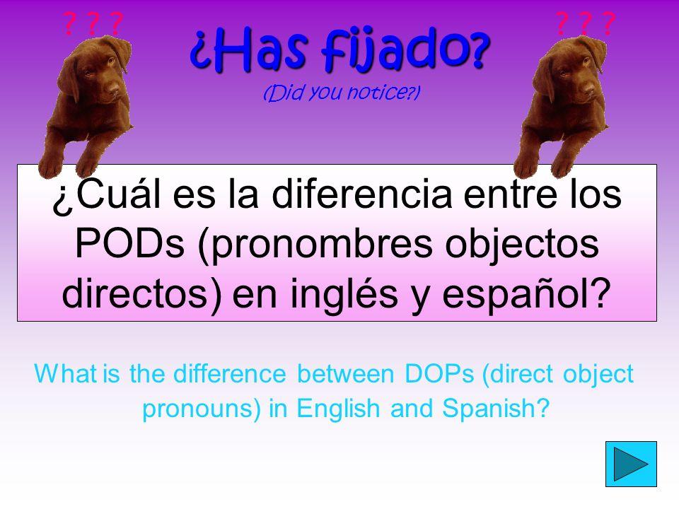¿Cuál es un pronombre objeto directo? Un pronombre objeto directo es una palabra que reemplaza un objeto directo A direct object pronoun is a word tha