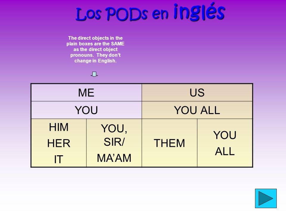 ¿Has fijado? ¿Has fijado? (Did you notice?) What are the DOPs in English? ¿Cuáles son los PODs en inglés? ? ? ?