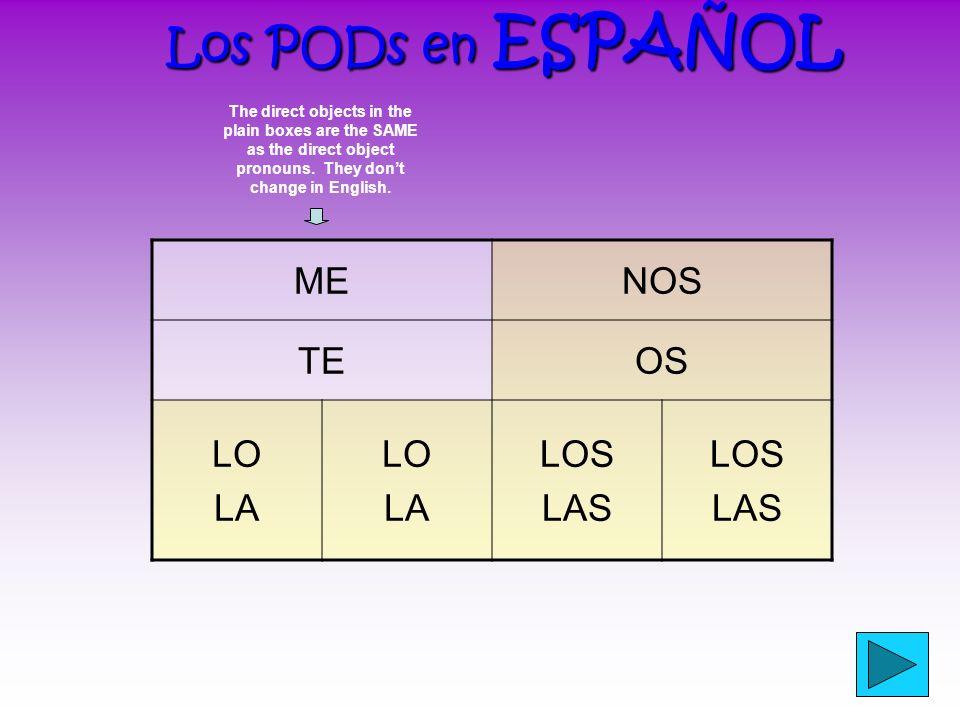 ¿Has fijado? ¿Has fijado? (Did you notice?) What are the DOPs in Spanish? ¿Cuáles son los PODs en español? ? ? ?
