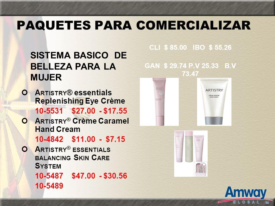 PAQUETES PARA COMERCIALIZAR A RTISTRY ® essentials Replenishing Eye Crème 10-5531 $27.00 - $17.55 A RTISTRY ® Crème Caramel Hand Cream 10-4842 $11.00