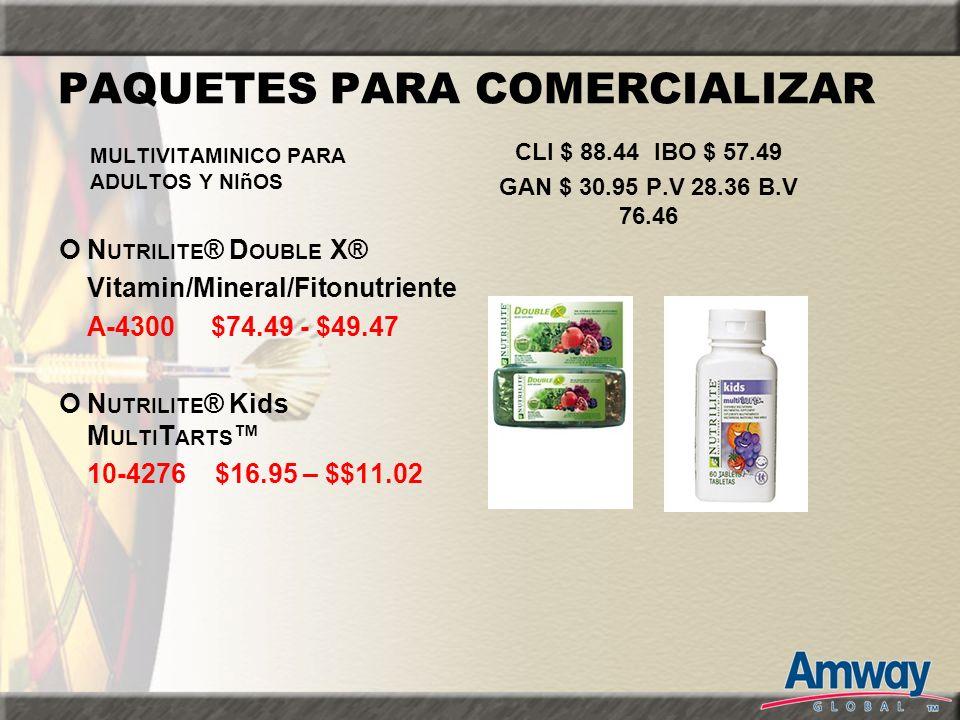 PAQUETES PARA COMERCIALIZAR N UTRILITE ® D OUBLE X® Vitamin/Mineral/Fitonutriente A-4300 $74.49 - $49.47 N UTRILITE ® Kids M ULTI T ARTS 10-4276 $16.9