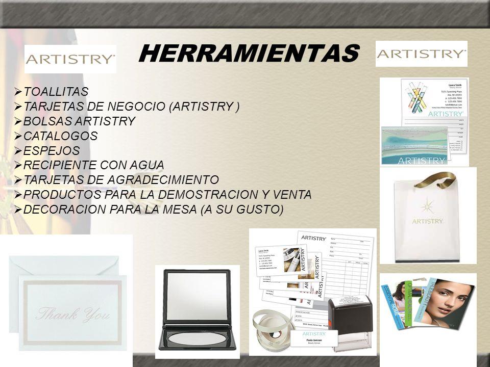 HERRAMIENTAS TOALLITAS TARJETAS DE NEGOCIO (ARTISTRY ) BOLSAS ARTISTRY CATALOGOS ESPEJOS RECIPIENTE CON AGUA TARJETAS DE AGRADECIMIENTO PRODUCTOS PARA