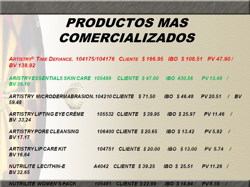 PRODUCTOS MAS COMERCIALIZADOS A RTISTRY ® T IME D EFIANCE. 104175/104176 C LIENTE $ 166.95 IBO $ 108.51 PV 47.90 / BV 138.92 ARISTRY ESSENTIALS SKIN C