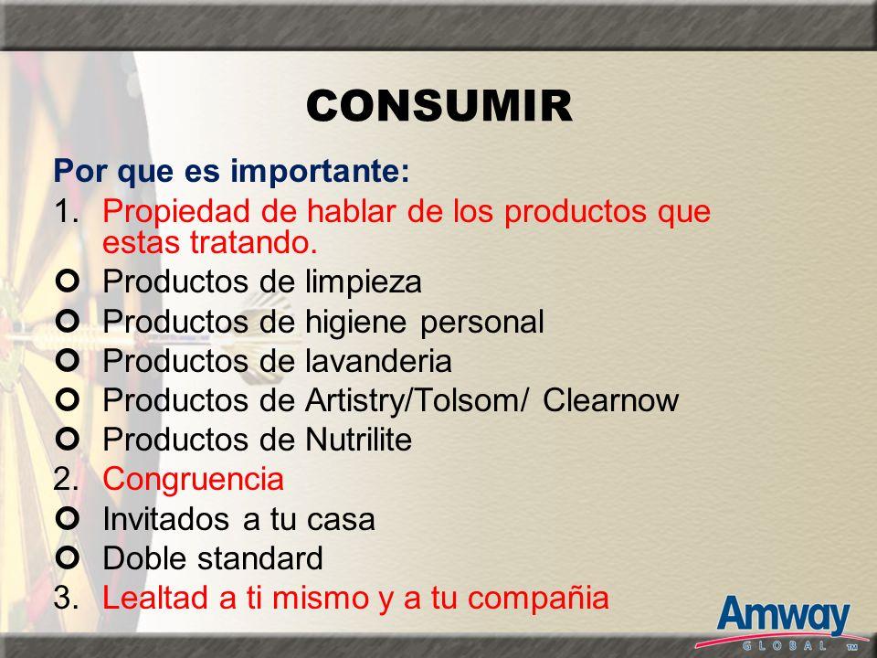 CONSUMIR Por que es importante: 1.Propiedad de hablar de los productos que estas tratando. Productos de limpieza Productos de higiene personal Product
