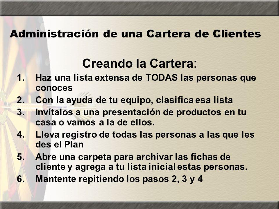 Administración de una Cartera de Clientes Creando la Cartera: 1.Haz una lista extensa de TODAS las personas que conoces 2.Con la ayuda de tu equipo, c