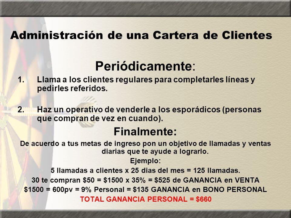 Administración de una Cartera de Clientes Periódicamente: 1.Llama a los clientes regulares para completarles líneas y pedirles referidos. 2.Haz un ope