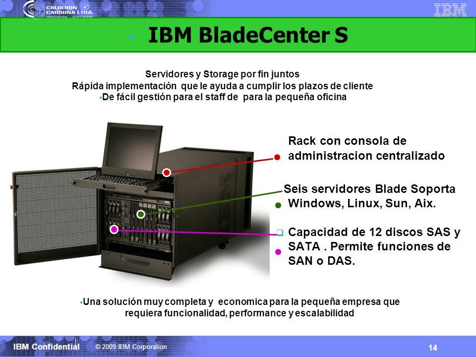 © 2009 IBM Corporation IBM Confidential 14 IBM BladeCenter S Rack con consola de administracion centralizado Seis servidores Blade Soporta Windows, Li