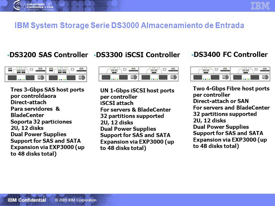 © 2009 IBM Corporation IBM Confidential IBM System Storage Serie DS3000 Almacenamiento de Entrada DS3400 FC Controller DS3200 SAS Controller Two 4-Gbp