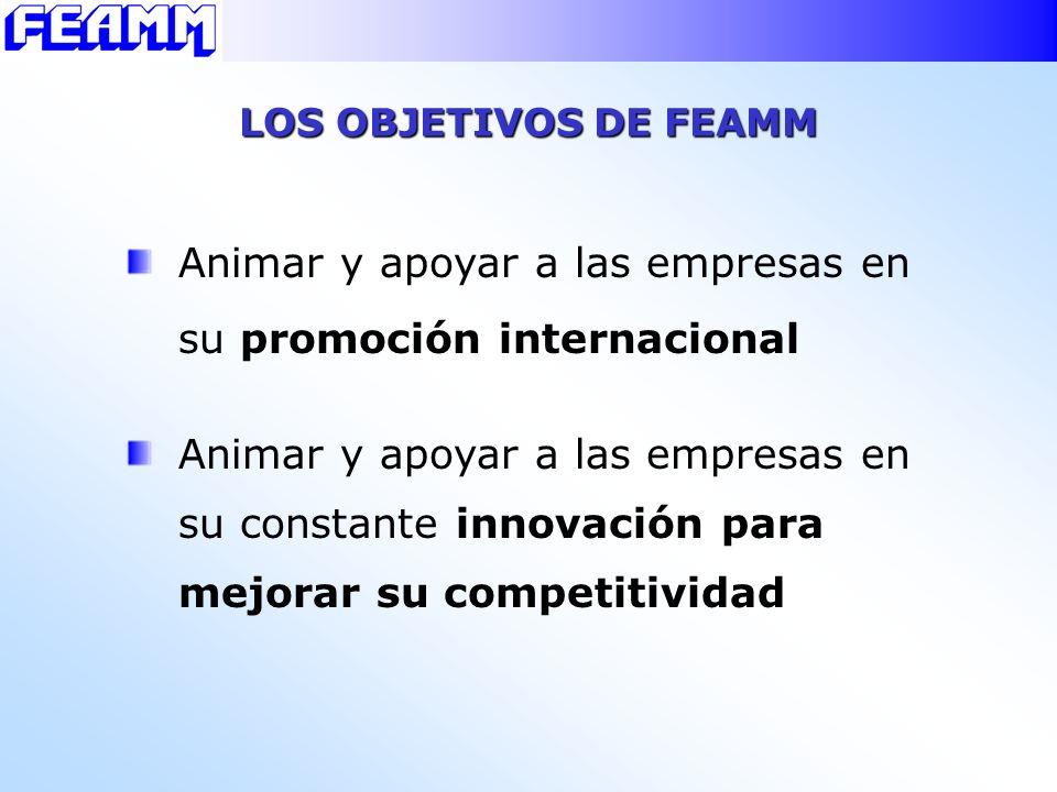 Animar y apoyar a las empresas en su promoción internacional LOS OBJETIVOS DE FEAMM Animar y apoyar a las empresas en su constante innovación para mej