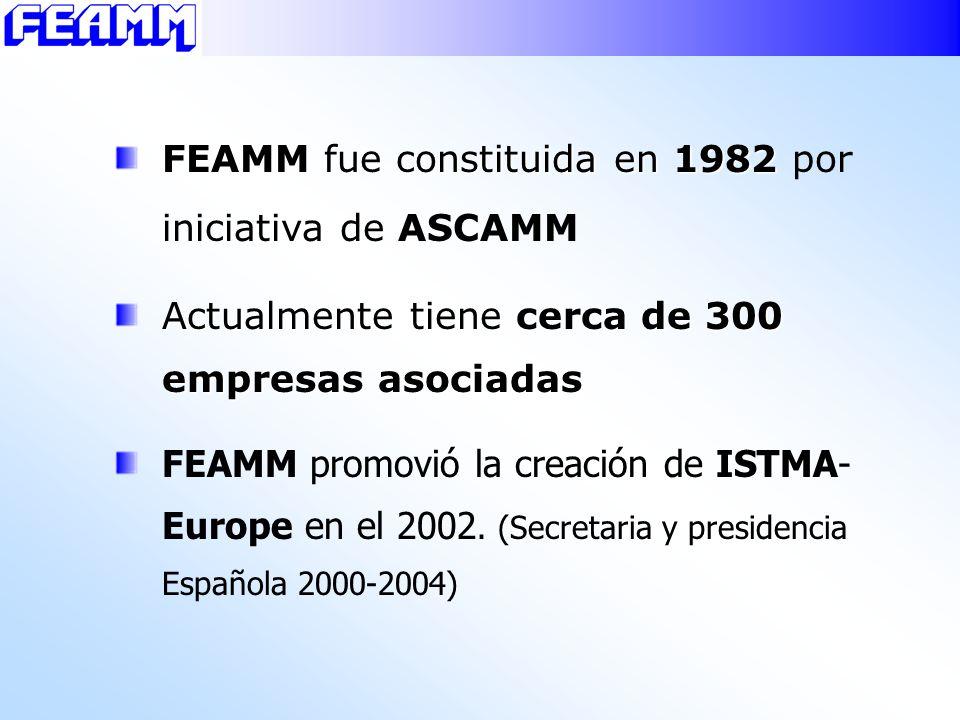 FEAMM fue constituida en 1982 FEAMM fue constituida en 1982 por iniciativa de ASCAMM Actualmente tiene cerca de 300 empresas asociadas FEAMM promovió