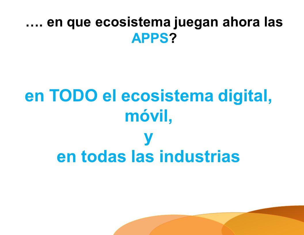 …. en que ecosistema juegan ahora las APPS? en TODO el ecosistema digital, móvil, y en todas las industrias