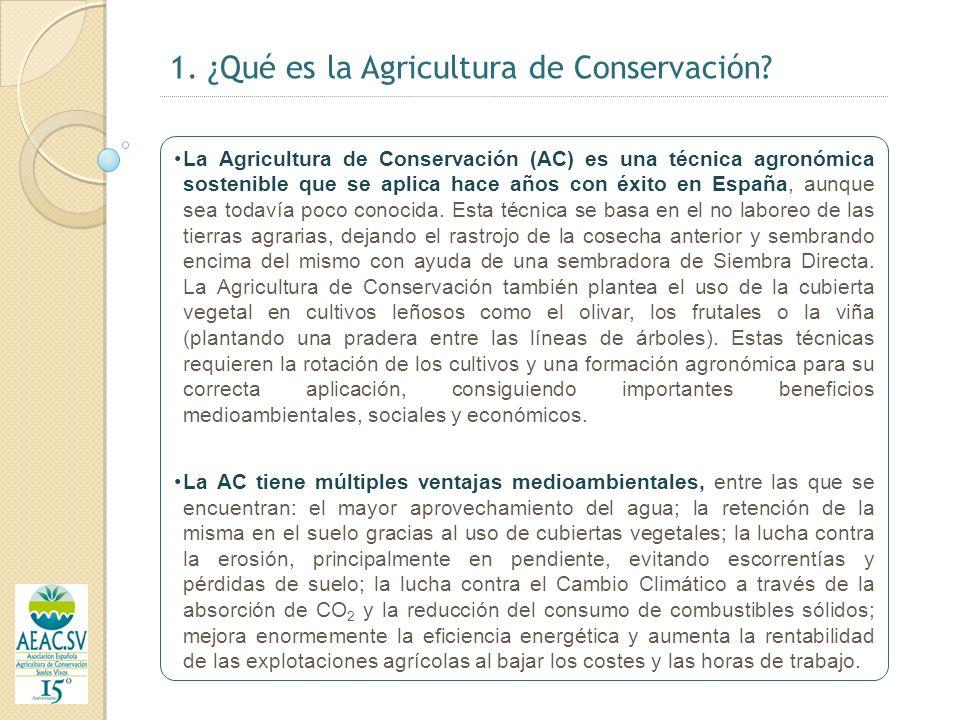 2.- Cifras e hitos importantes de la AC (I) La Agricultura de Conservación cuenta con 107 millones de hectáreas sembradas en todo el mundo (siembra directa), lo que significa el 2% de la superficie agrícola.