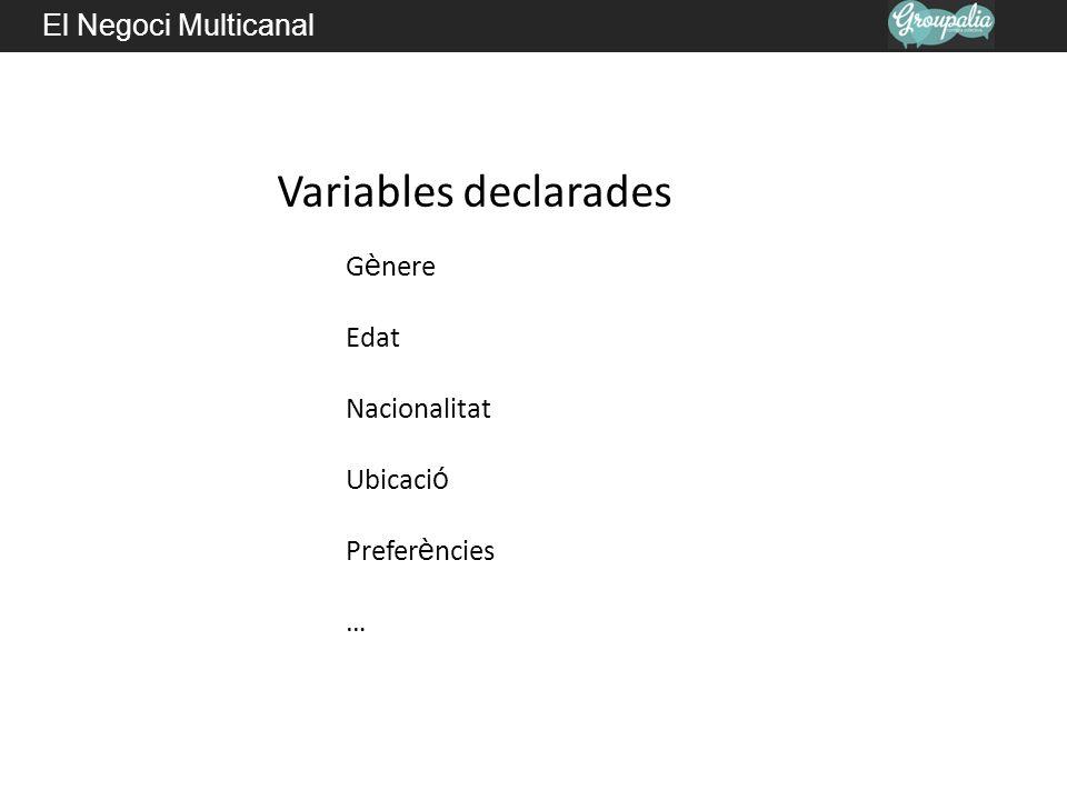 El Negoci Multicanal Variables declarades G è nere Edat Nacionalitat Ubicaci ó Prefer è ncies …