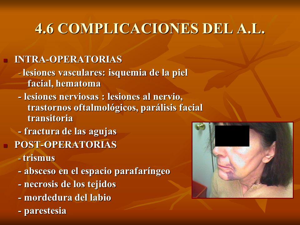 4.6 COMPLICACIONES DEL A.L. INTRA-OPERATORIAS INTRA-OPERATORIAS - lesiones vasculares: isquemia de la piel facial, hematoma - lesiones nerviosas : les