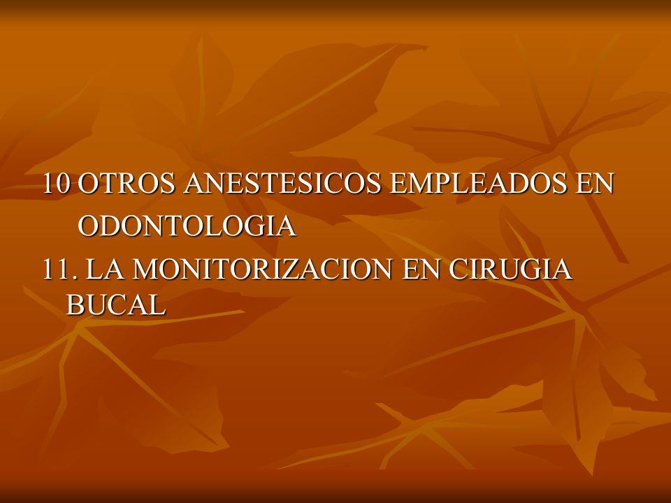 10 OTROS ANESTESICOS EMPLEADOS EN ODONTOLOGIA ODONTOLOGIA 11. LA MONITORIZACION EN CIRUGIA BUCAL