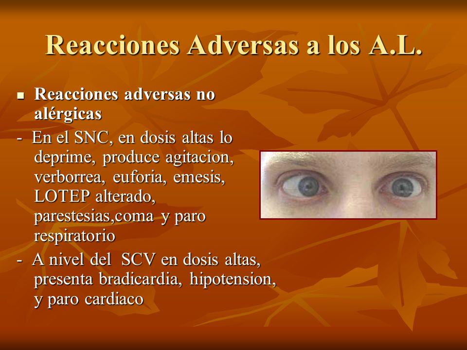 Reacciones Adversas a los A.L. Reacciones adversas no alérgicas Reacciones adversas no alérgicas - En el SNC, en dosis altas lo deprime, produce agita