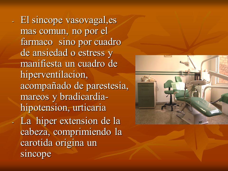 - El sincope vasovagal,es mas comun, no por el farmaco sino por cuadro de ansiedad o estress y manifiesta un cuadro de hiperventilacion, acompañado de