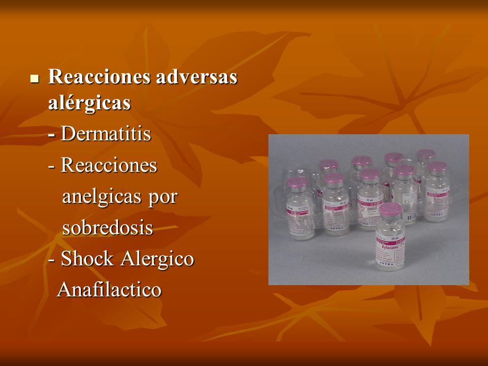 Reacciones adversas alérgicas Reacciones adversas alérgicas - Dermatitis - Reacciones anelgicas por anelgicas por sobredosis sobredosis - Shock Alergi