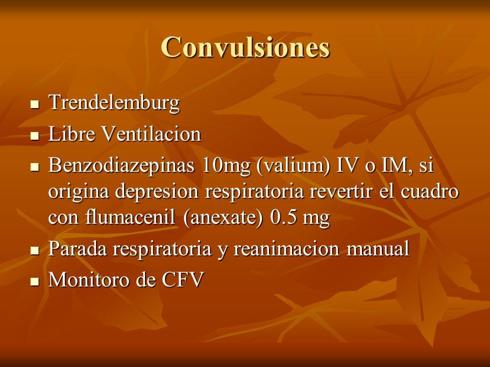 Convulsiones Trendelemburg Trendelemburg Libre Ventilacion Libre Ventilacion Benzodiazepinas 10mg (valium) IV o IM, si origina depresion respiratoria
