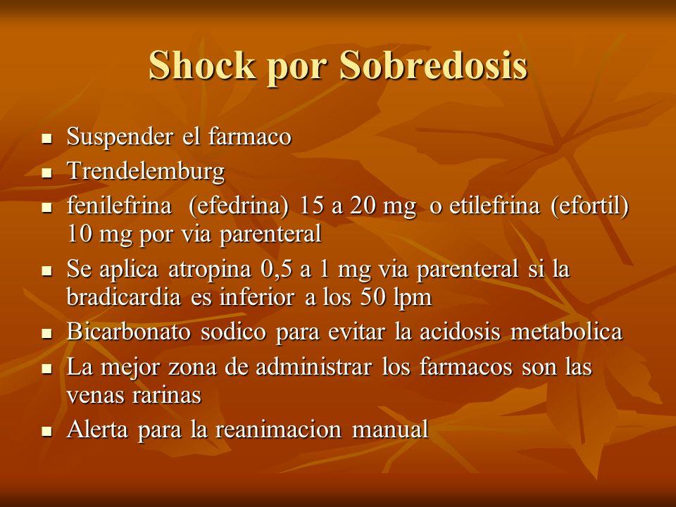 Shock por Sobredosis Suspender el farmaco Suspender el farmaco Trendelemburg Trendelemburg fenilefrina (efedrina) 15 a 20 mg o etilefrina (efortil) 10