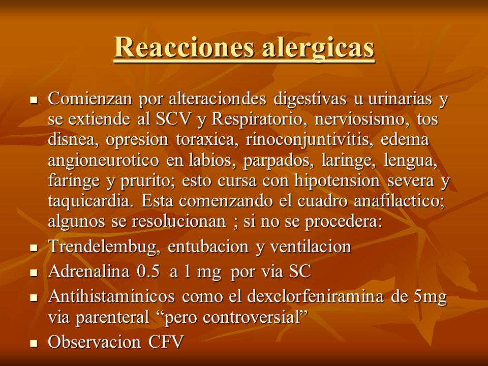 Reacciones alergicas Comienzan por alteraciondes digestivas u urinarias y se extiende al SCV y Respiratorio, nerviosismo, tos disnea, opresion toraxic