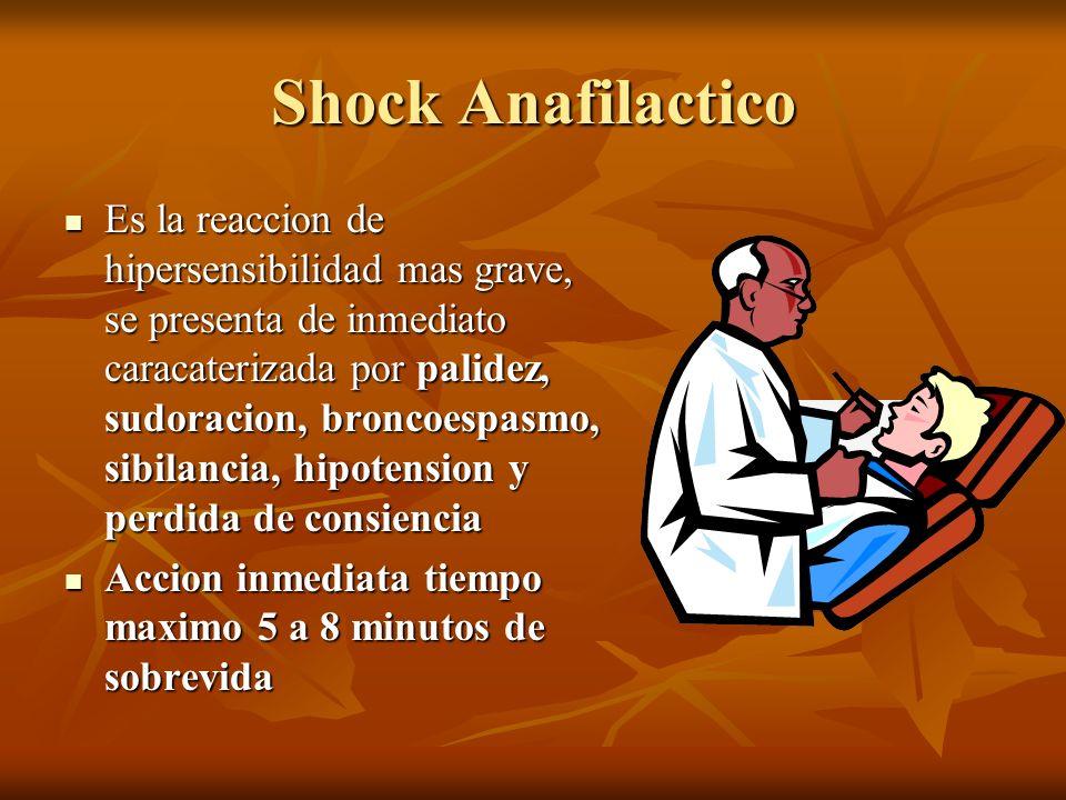 Shock Anafilactico Es la reaccion de hipersensibilidad mas grave, se presenta de inmediato caracaterizada por palidez, sudoracion, broncoespasmo, sibi