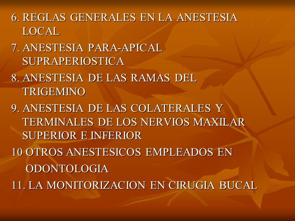 6. REGLAS GENERALES EN LA ANESTESIA LOCAL 7. ANESTESIA PARA-APICAL SUPRAPERIOSTICA 8. ANESTESIA DE LAS RAMAS DEL TRIGEMINO 9. ANESTESIA DE LAS COLATER