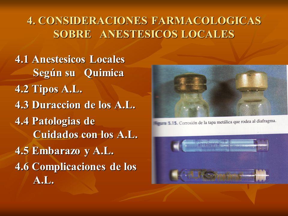 4. CONSIDERACIONES FARMACOLOGICAS SOBRE ANESTESICOS LOCALES 4.1 Anestesicos Locales Según su Quimica 4.2 Tipos A.L. 4.3 Duraccion de los A.L. 4.4 Pato