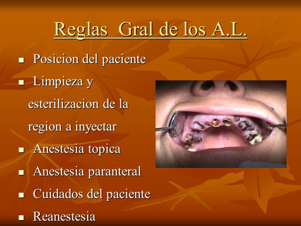 Reglas Gral de los A.L. Posicion del paciente Posicion del paciente Limpieza y Limpieza y esterilizacion de la esterilizacion de la region a inyectar