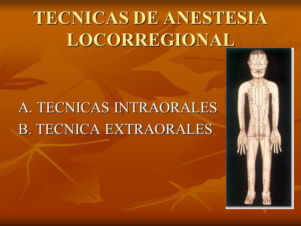 TECNICAS DE ANESTESIA LOCORREGIONAL A. TECNICAS INTRAORALES B. TECNICA EXTRAORALES