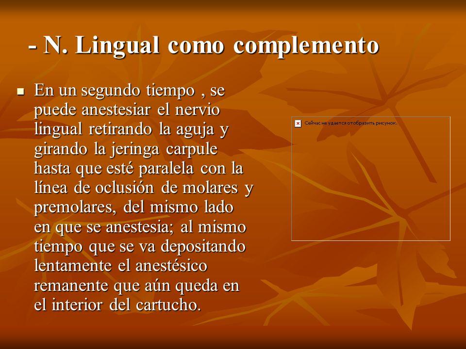 - N. Lingual como complemento En un segundo tiempo, se puede anestesiar el nervio lingual retirando la aguja y girando la jeringa carpule hasta que es
