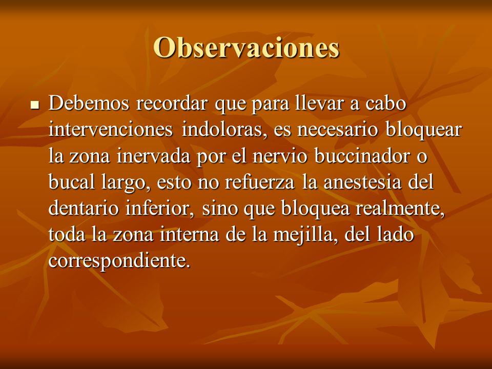 Observaciones Debemos recordar que para llevar a cabo intervenciones indoloras, es necesario bloquear la zona inervada por el nervio buccinador o buca