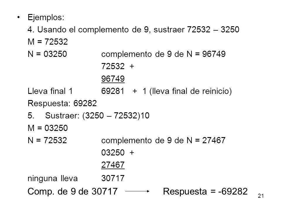 Ejemplos: 4. Usando el complemento de 9, sustraer 72532 – 3250 M = 72532 N = 03250complemento de 9 de N = 96749 72532+ 96749 Lleva final 1 69281 + 1 (
