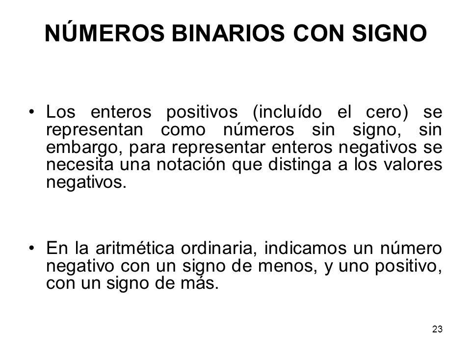 NÚMEROS BINARIOS CON SIGNO Los enteros positivos (incluído el cero) se representan como números sin signo, sin embargo, para representar enteros negat