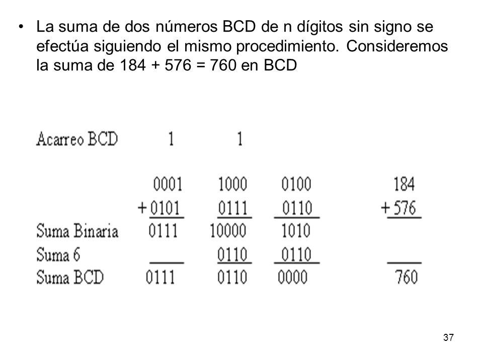 La suma de dos números BCD de n dígitos sin signo se efectúa siguiendo el mismo procedimiento. Consideremos la suma de 184 + 576 = 760 en BCD 37