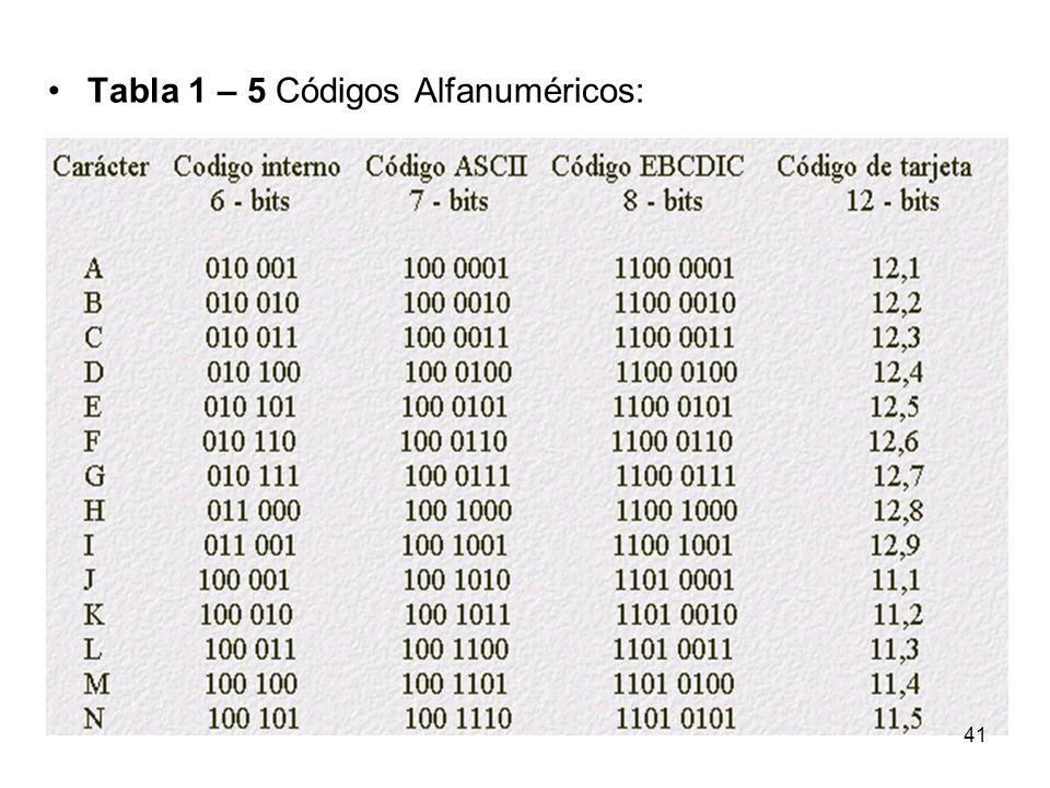 Tabla 1 – 5 Códigos Alfanuméricos: 41