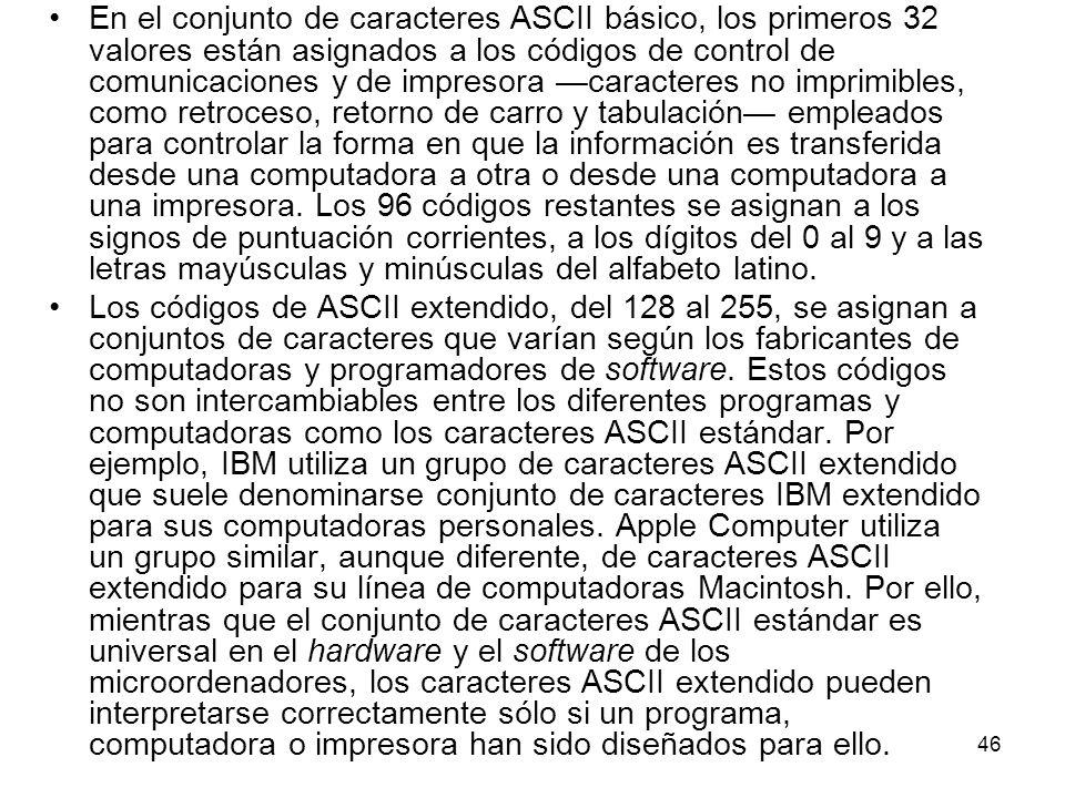 En el conjunto de caracteres ASCII básico, los primeros 32 valores están asignados a los códigos de control de comunicaciones y de impresora caractere