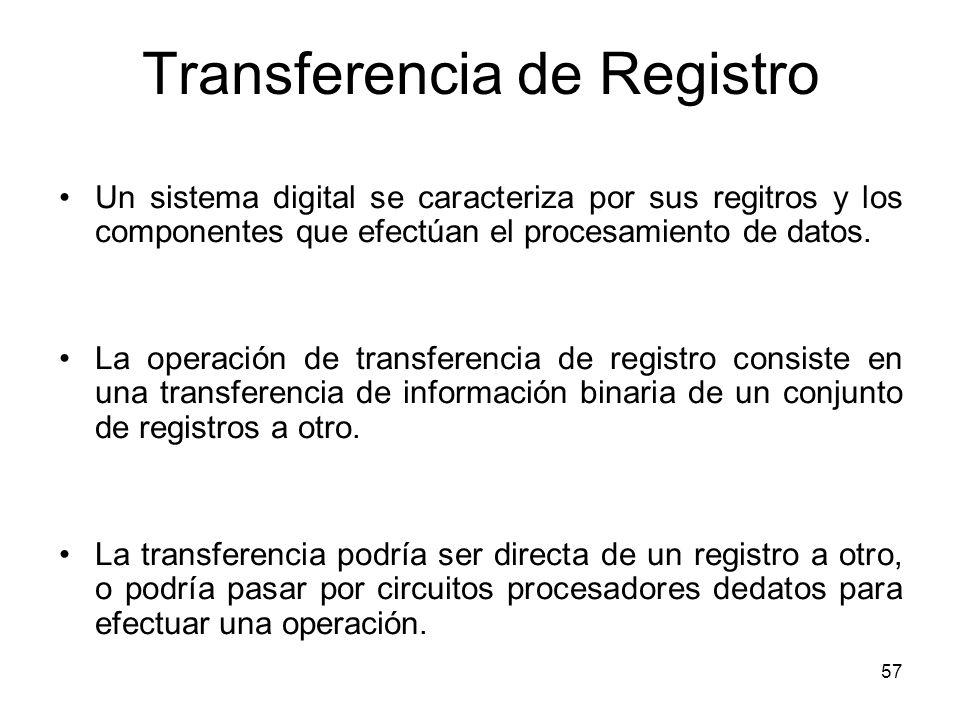 Transferencia de Registro Un sistema digital se caracteriza por sus regitros y los componentes que efectúan el procesamiento de datos. La operación de
