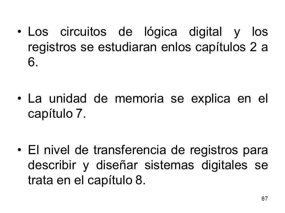 Los circuitos de lógica digital y los registros se estudiaran enlos capítulos 2 a 6. La unidad de memoria se explica en el capítulo 7. El nivel de tra
