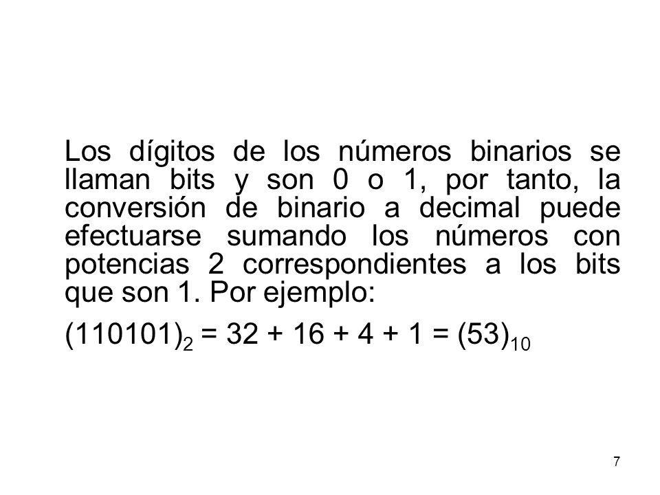 Los dígitos de los números binarios se llaman bits y son 0 o 1, por tanto, la conversión de binario a decimal puede efectuarse sumando los números con