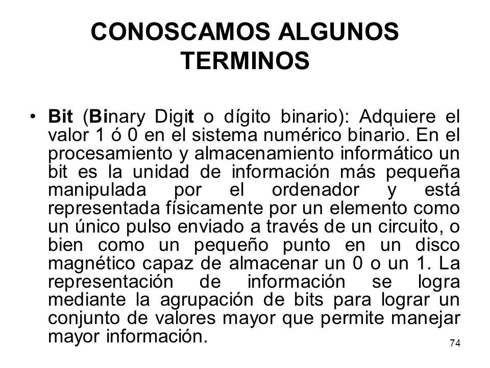 CONOSCAMOS ALGUNOS TERMINOS Bit (Binary Digit o dígito binario): Adquiere el valor 1 ó 0 en el sistema numérico binario. En el procesamiento y almacen