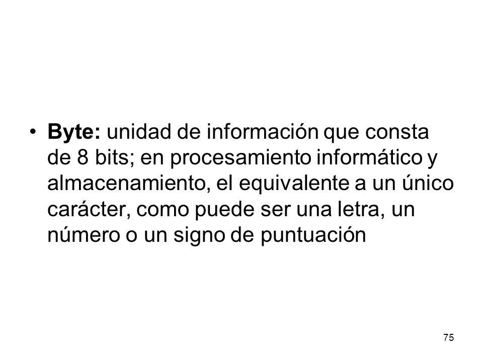 Byte: unidad de información que consta de 8 bits; en procesamiento informático y almacenamiento, el equivalente a un único carácter, como puede ser un