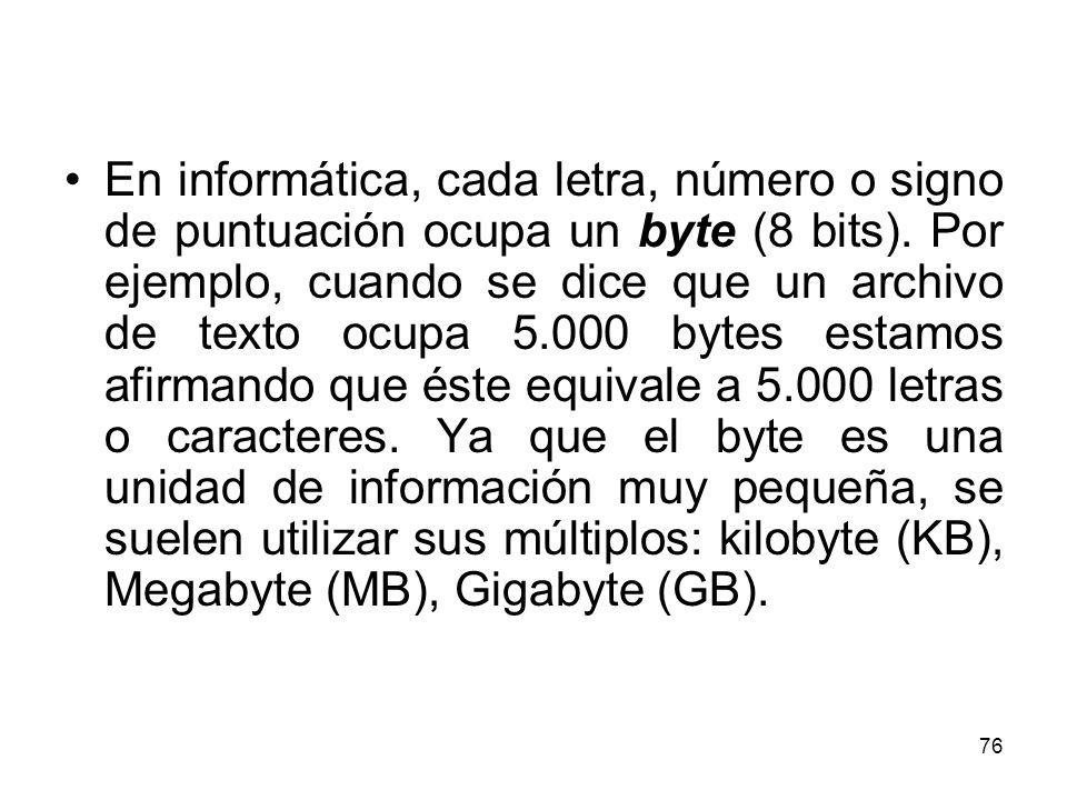 En informática, cada letra, número o signo de puntuación ocupa un byte (8 bits). Por ejemplo, cuando se dice que un archivo de texto ocupa 5.000 bytes